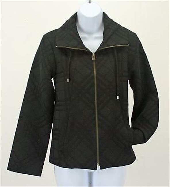 Chico's 0 On Plaid Zip Front Drawstring Collar B248 Black Jacket