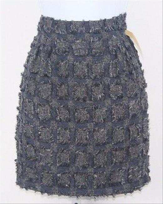 Forever 21 Love 21 Navy Grey Textured Pencil B164 Skirt Multi-Color
