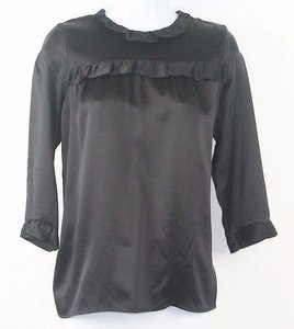 Other Franny For Barneys Sp Silk Ruffle Long Sleeve Zip B162 Top Black