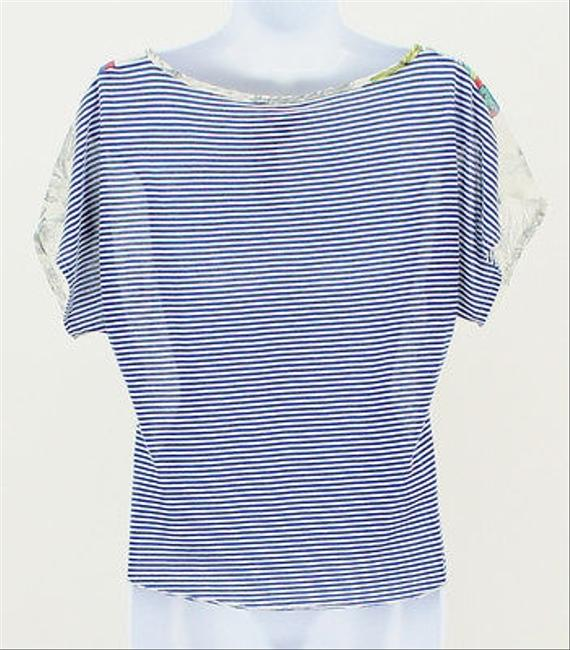 About A Girl Sheer Blue White Lace Striped Short Sleeve B313 Top