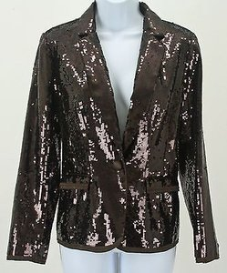 Chico's Chicos 0 Brown Full Sequin One Button Blazer B247