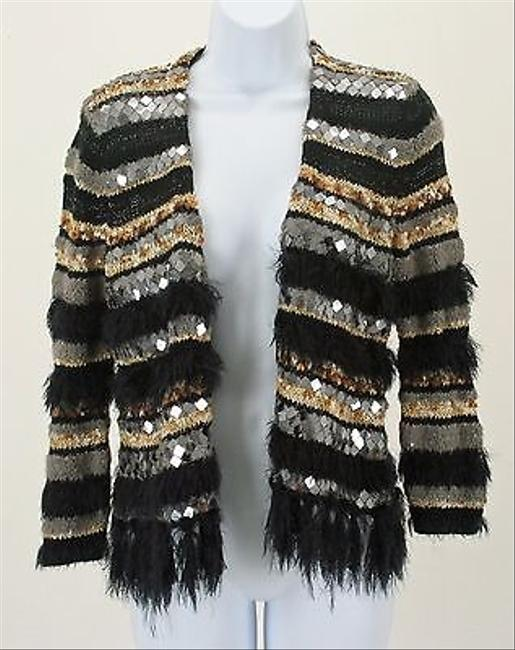 Chico's 0 Black Gray Tan Multi Mirrors Fringed Boho Cardigan B247 Sweater