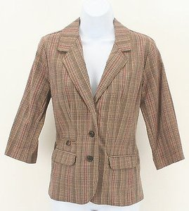 Sonoma Brown Rust Tan Plaid Womens B316 Multi-Color Jacket