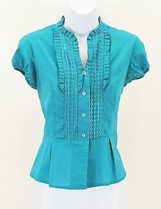 Chadwicks 6p Teal Ruffle Short Sleeve B307 Top Blue