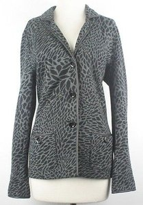 Charter Club Charcoal Black Animal Print Pleather Trim Knit B79 Multi-Color Jacket