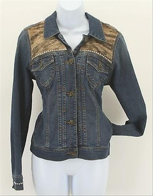 Gloria Vanderbilt Gloria Vanderbilt Blue Denim Brown Tan Calf Hair Silver Stud Blazer B298