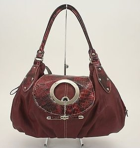 Fashion Silver Croco Satchel in Burgundy
