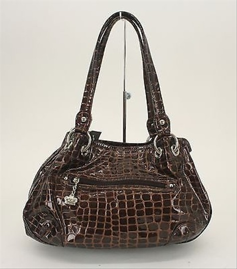 Kathy Van Zeeland Croco Embossed Silver Rhinestone B304 Satchel in Brown