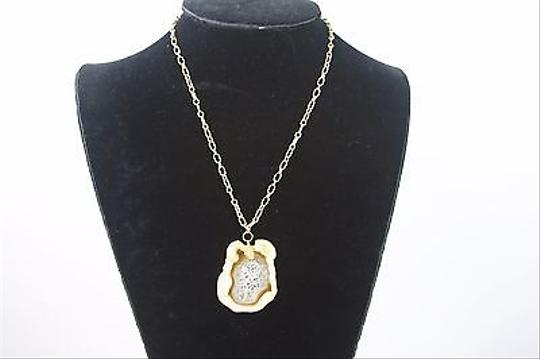 Other Agate Pendant Gold Tone Chain White Brown Amber Colored 17 Necklace Bj1