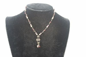 Burgundy Brown Clear Bead 14 Necklace Bj1