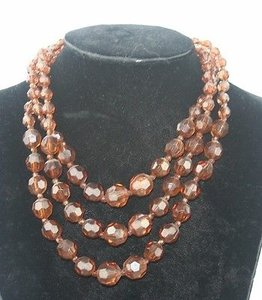 Smokey Topaz Plastic Strand Gold Tone 17 Necklace Bj1