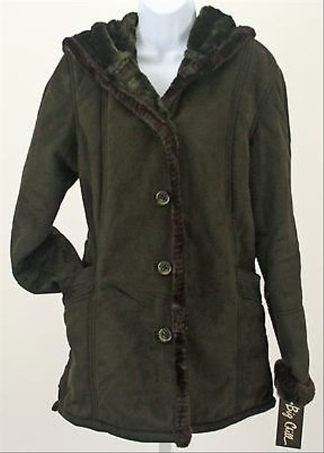Other Big Chill Olive Faux Suede W Faux Fur B257 Coat