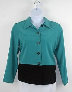 Other Sarah Bentley Teal Black Color Block Peach Skin Fabric Blazer B203