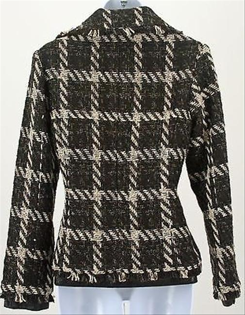 Chico's Chicos 0 Purrfect Plaid Brown Cream Janise Jacket B257
