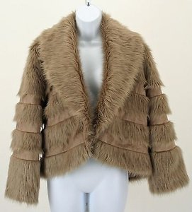 Chico's 1 Faux Fur Suede Bolero B256 Burlywood Brown (Taupe) Jacket