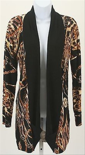 Peck & Peck Black Gold Brown Ethnic Print Cardigan B262 Sweater