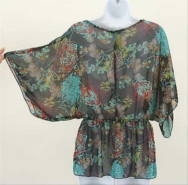 Other Janette Black Sheer Wide Sleeve Gathered Waist B326 Top Multi-Color