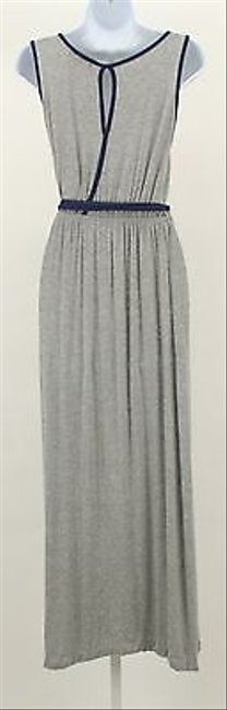 Gray Maxi Dress by Delirious Clothing Delirious Blue Sleeveless Maxi With Waist Tie B326