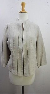 Other Eileen Fisher Tan Linen Lined Blazer B50