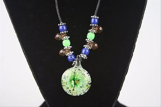 Other Green Blue Glass Pendant Black Leather Cord Silver Tone 24 Necklace Bj1
