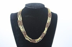 Bronze Gold Multi-strand Beaded 20 Necklace Bj1