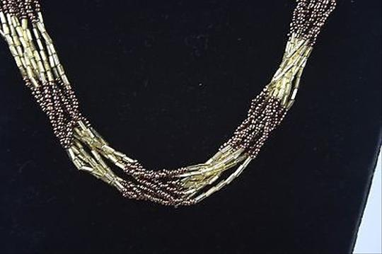 Other Bronze Gold Multi-strand Beaded 20 Necklace Bj1