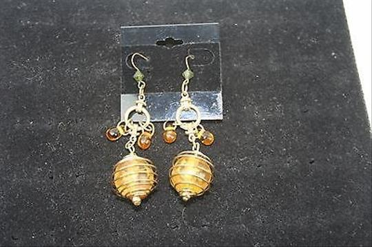 Other Amber 3 Faux Caged Gold Tone Dangle Earrings Bj1