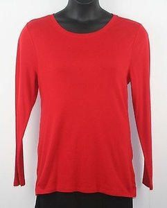 Perfect Details Long Sleeve Scoop Neck T Shirt Red
