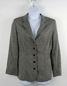 Avenue Avenue Charcoal Cream Herringbone Button Blazer B203
