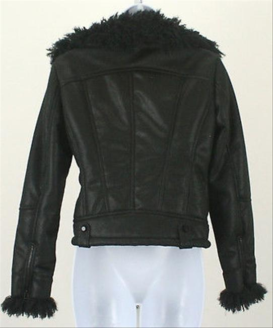 Cache Curly Faux Fur Faux Suede Zip Front B256 Motorcycle Jacket