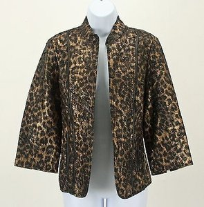 Chico's Chicos 0 Black Bronze Open Front Animal Print Blazer B247