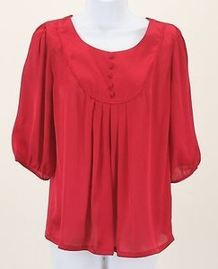Forever 21 Love Pleated Chiffon Top Red