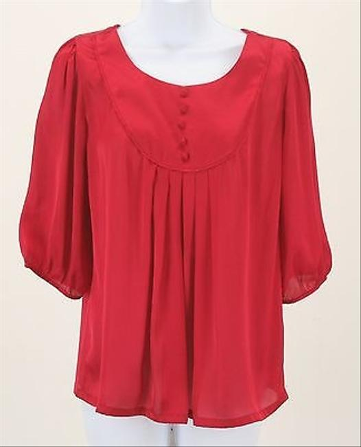 Forever 21 Love 21 Pleated Chiffon With 12 Sleeves B261 Top Red