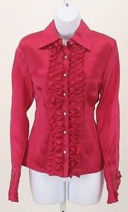 Talbots Magenta Long Sleeve Ruffle Button Down B258 Top Pink