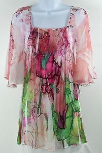 Spy White Magenta Green Sheer Top Pink