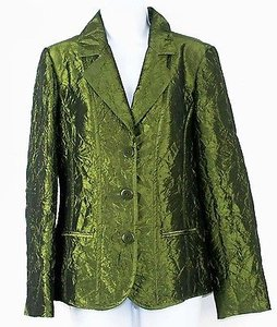 Chico's Chicos 0 Green Crinkled Blazer B260