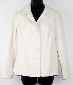 Chico's 0 Cream Pleather Button Down B260 Ivory Jacket
