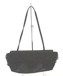Victor Costa Satin Lace Trimmed Evening Convertible Strap B319 Black Clutch