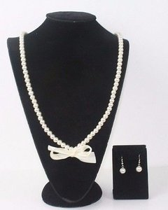 My Style Pearl Ribbon Earring Necklace Bj07