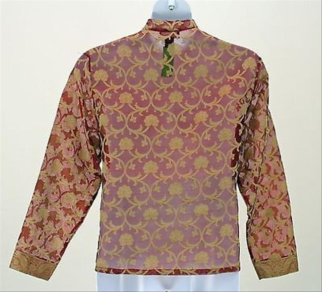 Elementz Gold Floral On Red Sheer Ls Knot Frog Snaps Asian Style B262 Top Multi-Color