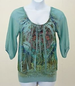 Fang Aqua Teal Blue Green Multi Floral 34 Sleeve Banded Hem B262 Top Multi-Color