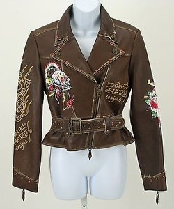 Ed Hardy Dedicated Motorcycle With Waist Belt B268 Motorcycle Jacket