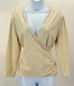 Nine West Cream Lace Trim Ls Wrap B321 Top