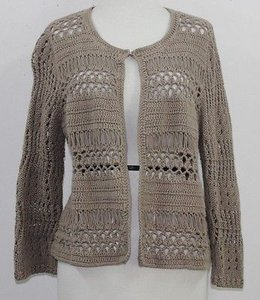 Chico's Chicos 1 Taupe Open Knit Sweater