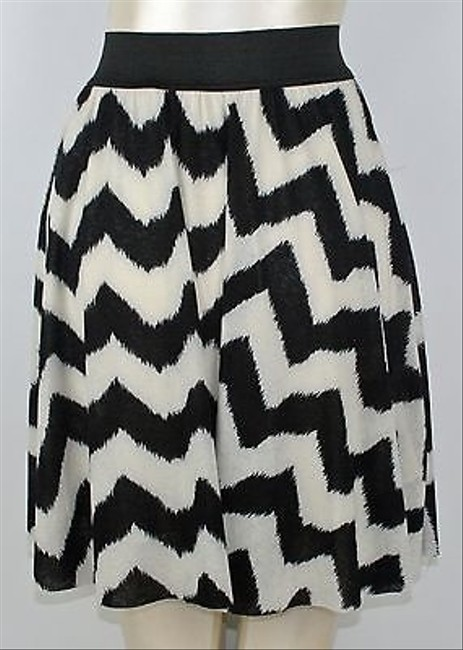 Hem & Thread Black White Zig Zag Print Boho Flowy B13 Skirt Multi-Color