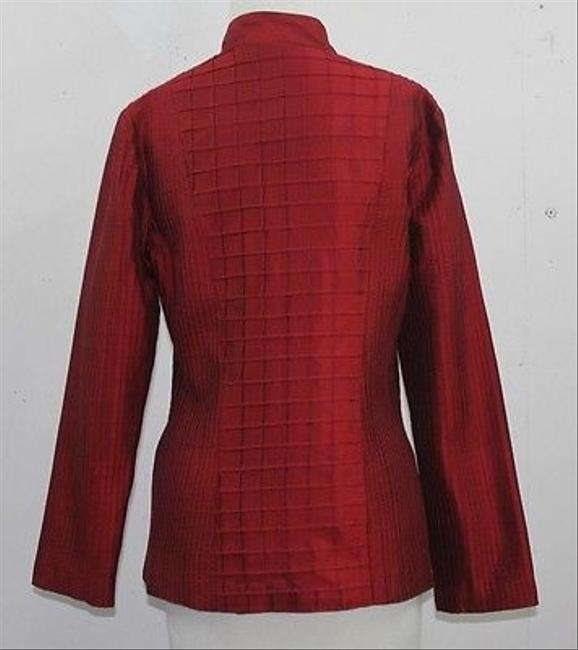 Other Karon Burgundy Thai Silk Stitch Detail Blazer B53 Red Jacket
