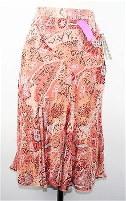 Uniform John Paul Richard Coral Silver Metallic Multi Floral Print B153 Skirt Coral Multi