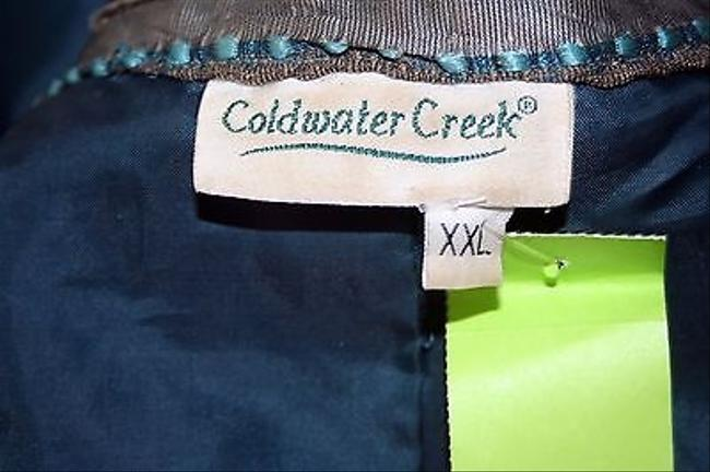 Coldwater Creek Aqua Silver Olive Lined Front Zip B209 Brown Jacket