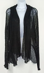 Anthropologie Nirvana Lettuce Edge Sheer Weave Long Sleeve Cardigan B212 Jacket