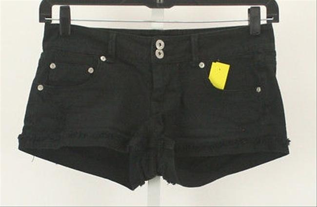PINK X Distressed Denim Double B335 Mini/Short Shorts Black